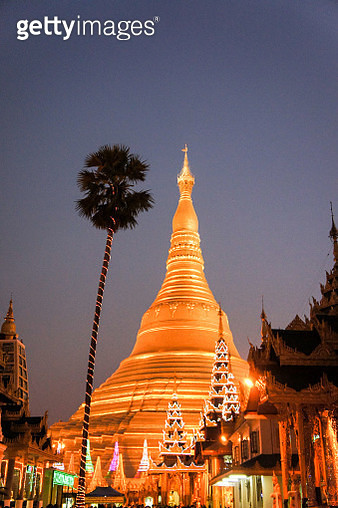 Schwedagon Pagoda at night - gettyimageskorea