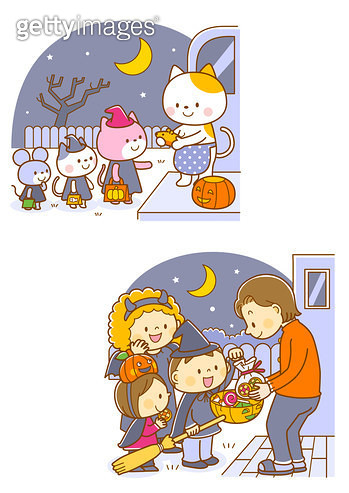 Animals on Halloween's daythe children reciving candy for Halloween - gettyimageskorea