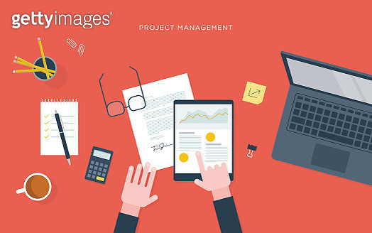 Flat illustration of person at desk with tablet, project management - gettyimageskorea