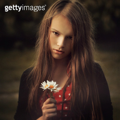 Poland, Portrait of girl with flowers - gettyimageskorea