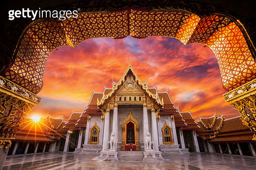 Wat benchamabophit, The white marble temple with sunset in Bangkok, Thailand - gettyimageskorea