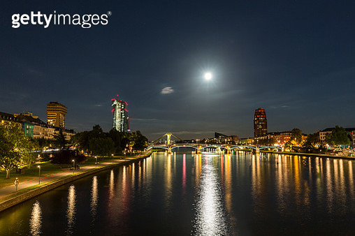 Germany, Frankfurt, River Main at night, Skyline of finanial district - gettyimageskorea
