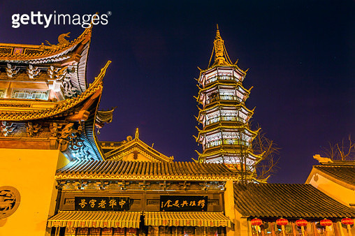 Nanchang Temple pagoda at night, Wuxi , Jiangsu Province, China - gettyimageskorea