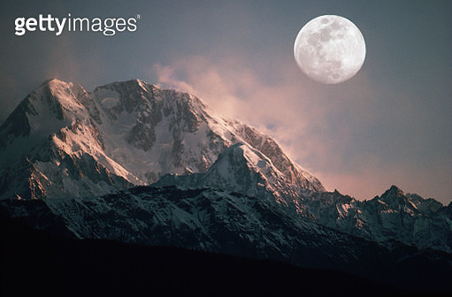 Full Moon Above Tirich Mir - gettyimageskorea