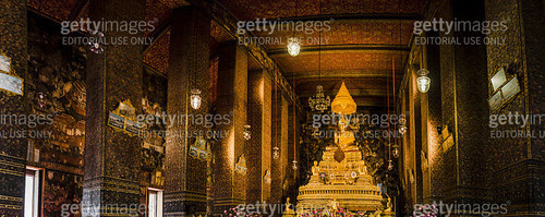 Panoramic view of the altar in Temple of Reclining Buddha, Bangkok, Thailand - gettyimageskorea
