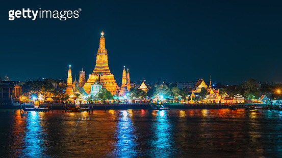 Wat arun at night, Bangkok, Thailand - gettyimageskorea