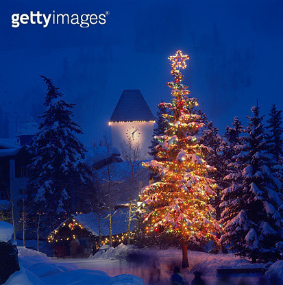 Clock Tower and Christmas Tree - gettyimageskorea