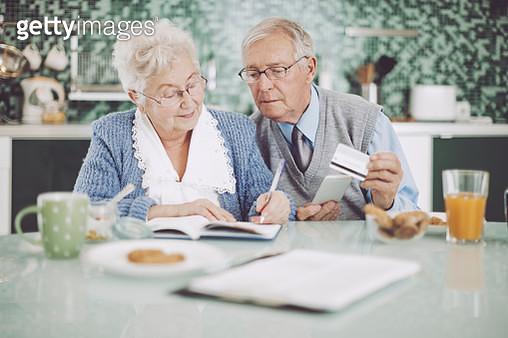 Senior couple having breakfast together - gettyimageskorea