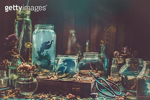 Carnivorous plants in glass jars - gettyimageskorea