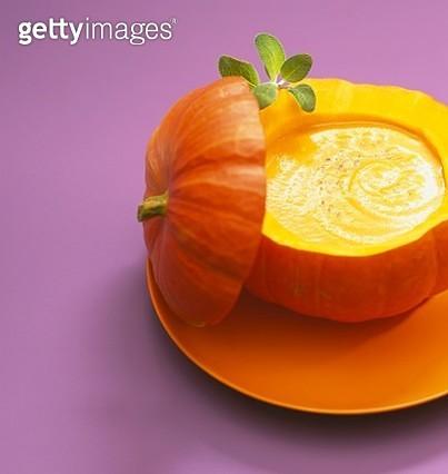 Pumpkin soup served in the pumpkin - gettyimageskorea