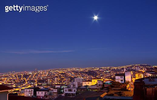 Full moon over Valparaiso, Chile - gettyimageskorea