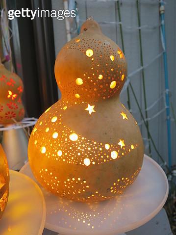 Illuminated Star Shapes Carved Pumpkin Lanterns During Halloween - gettyimageskorea