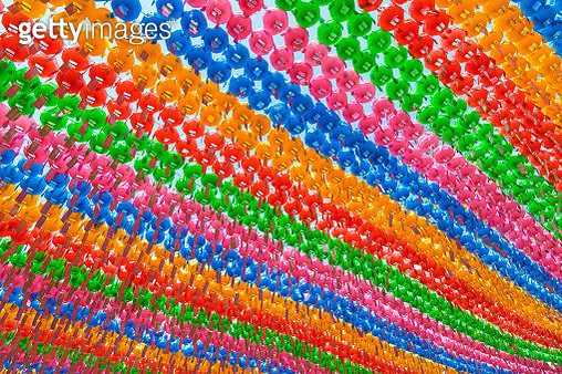 Colorful paper lanterns at the Jogyesa Temple viewed from below - gettyimageskorea