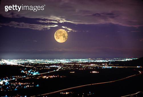Moon rise, Denver, Colorado - gettyimageskorea