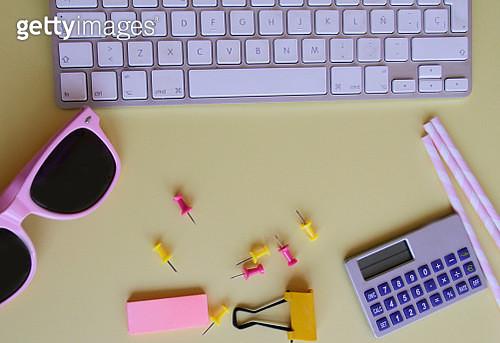 Overhead yellow studio desk - gettyimageskorea