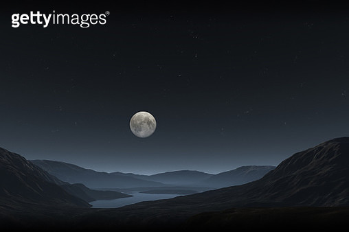 Scenic View Of Mountains And Lake Against Clear Sky At Night - gettyimageskorea
