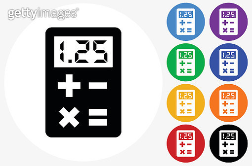 Calculator Icon on Flat Color Circle Buttons - gettyimageskorea