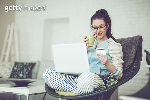 Pretty woman at home - gettyimageskorea