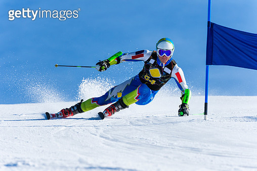 Young Man Compeeting at Giant Slalom Race - gettyimageskorea