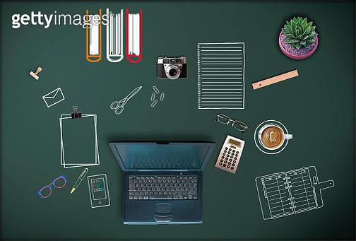 Office utensils on chalk board - gettyimageskorea
