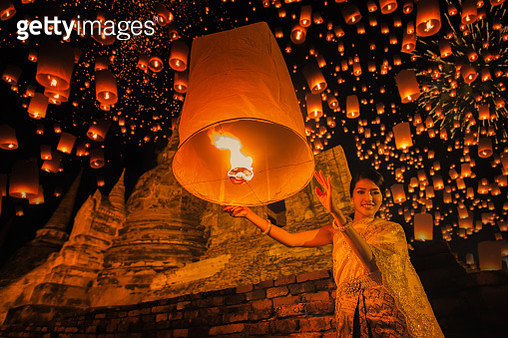 Thai people floating lamp - gettyimageskorea