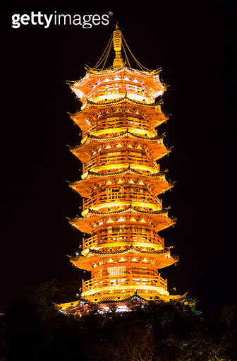 The Sun Pagoda at Night in Guilin China. - gettyimageskorea