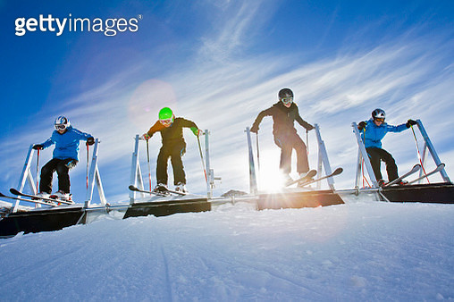Four female ski crosser starting, Elsigen-Metsch resort, Bernese Oberland, Canton of Bern, Switzerland - gettyimageskorea