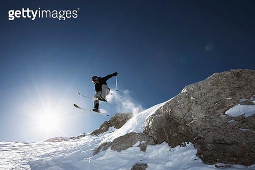 Skier jumping, Marmolata, Trentino, Italy - gettyimageskorea