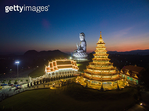 Giant statue of Kwan Yin goddess and Huay-Pla-Kang temple - gettyimageskorea