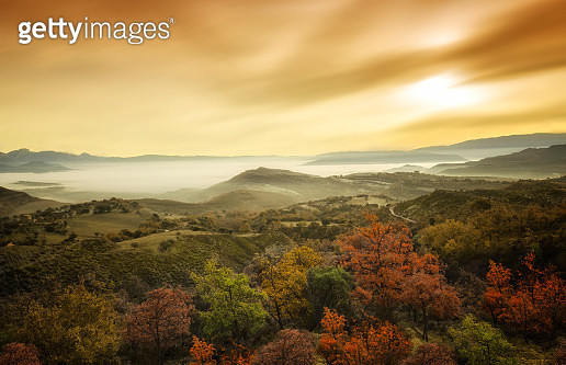 Dawn in autumn. Sea of clouds - gettyimageskorea