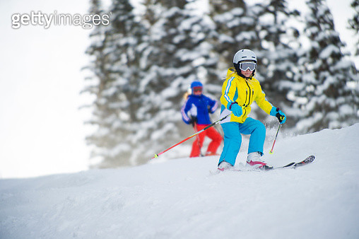 Young Girl Skiing a Groomer - gettyimageskorea