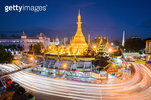 Sule Pagoda place for worship and traffic circle Roundabout Sign in Yangon , Myanmar - gettyimageskorea