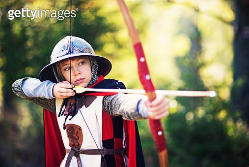 Portrait of a little archer gril - gettyimageskorea