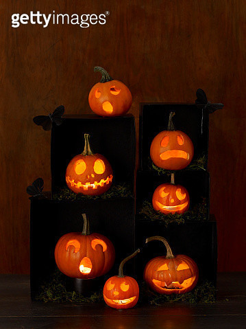 Carved Pumpkins  in  black boxes - gettyimageskorea