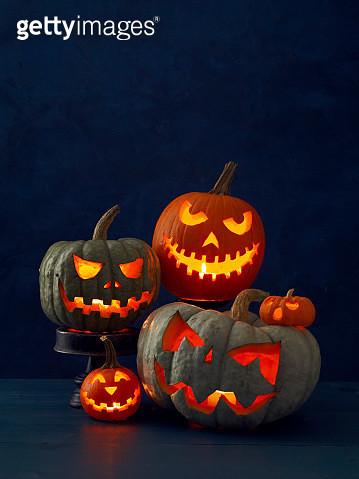 Carved Pumpkinson Dark Blue - gettyimageskorea
