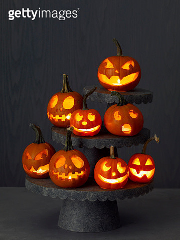 Carved Pumpkins on tiered stands - gettyimageskorea