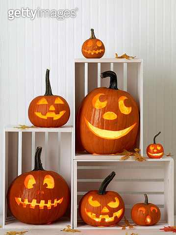 Carved Pumpkins in White Crates - gettyimageskorea