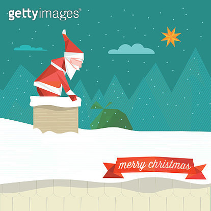 polygonal illustration of santa claus jumping into the smoke stack - gettyimageskorea