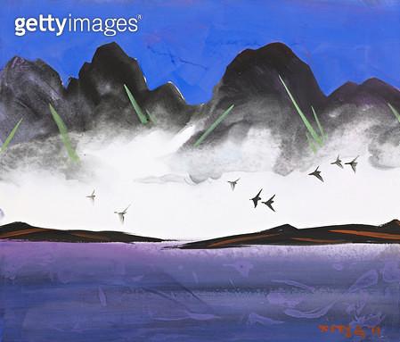 제목 : 질주 (2013년)<br/>소재 : 한지 수묵채색<br/>작품사이즈 : 53x40(㎝)<br/>작품 설명 : 한국화 수묵화 채색화 풍경 추상 비구상 자연 나무 산 강 들판  - gettyimageskorea