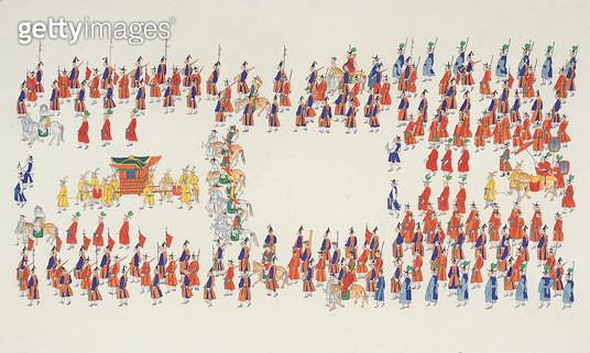제목 : 반차도 (2006년)<br/>소재 : 봉채.분채.먹아교.치자.백반.순지<br/>작품사이즈 : 90 x 53(㎝)<br/> - gettyimageskorea