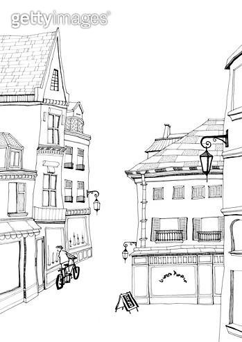 유럽의 한적한 골목길의 자전거와 남자가 있는 풍경 펜드로잉 - gettyimageskorea