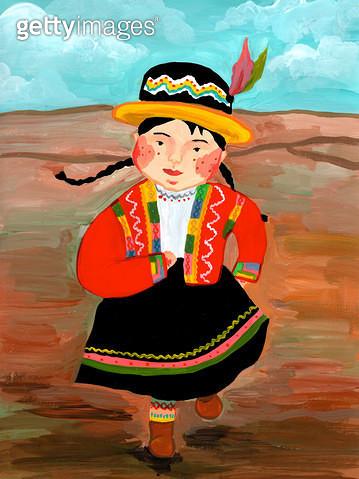 페루 소녀 전통 의상 - gettyimageskorea
