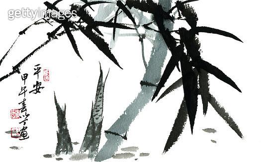 제목 : 대나무 (2014년)<br/>소재 : 화선지 수묵담채<br/>작품사이즈 : 29x20(㎝)<br/>작품 설명 : 한국화 문인화 화선지 수채화 사군자 대나무 - gettyimageskorea