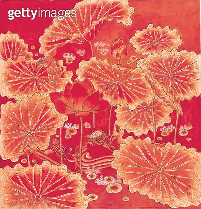 제목 : 연화도 (2013년)<br/>소재 : 한지 채색<br/>작품사이즈 : 66x72(㎝)<br/>작품 설명 : 추천작가 한국화 한지 채색화 민화 연화도 연꽃 - gettyimageskorea