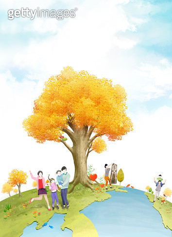 가을,보건,사람,보험,가족,여행,노랑 - gettyimageskorea