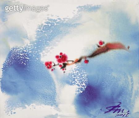 제목 : 매화 (2015년)<br/>소재 : 혼합재료<br/>작품사이즈 : 53x45(㎝)<br/>작품 설명 : 추천작가 한국화 꽃 꽃이야기 추상화  - gettyimageskorea