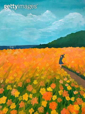바람에 흔들리는 꽃과 나 - gettyimageskorea