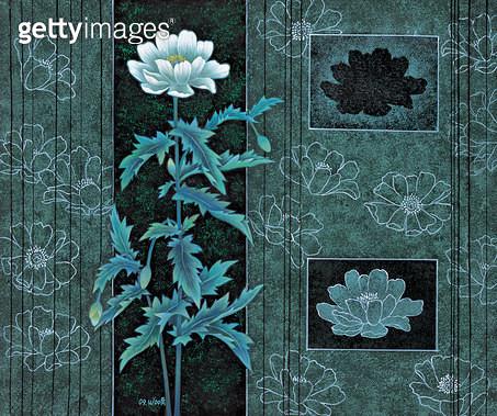 제목 : 꽃이야기 (2006년)<br/>소재 : 한지 채색<br/>작품사이즈 : 73x60(㎝)<br/>작품 설명 : 원로작가 한국화 꽃 채색화 흰꽃 무늬 비구상 - gettyimageskorea