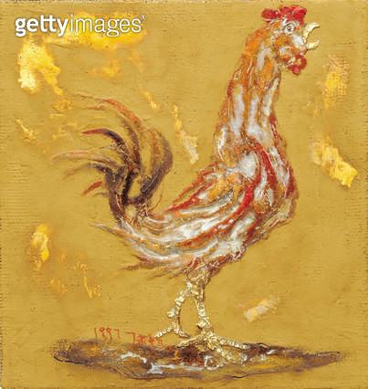 제목 : 새벽 (1993년)<br/>소재 : 캔버스 유채<br/>작품사이즈 : 45x48(㎝)<br/>작품 설명 : 민속 동물 닭 벼슬 닭한마리 새벽울음소리 유화  - gettyimageskorea