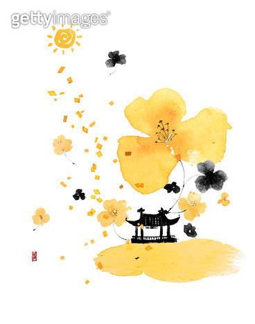 제목 : 피어나다05 (2014년)<br/>소재 : 물감, 먹, 화선지<br/>작품사이즈 : 34cmx43cm(㎝)<br/>작품 설명 : 노랑,꽃,먹그림 - gettyimageskorea
